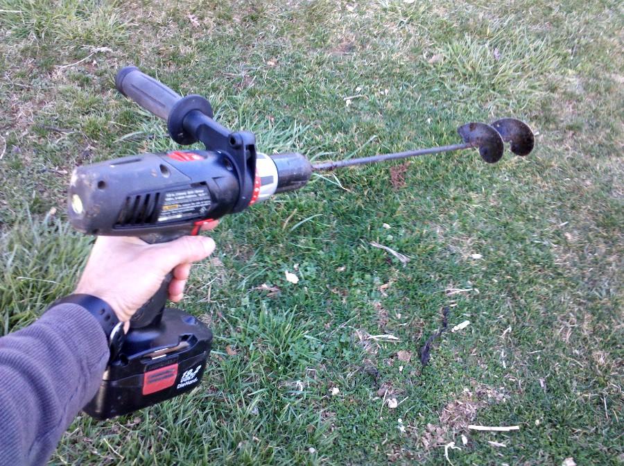 Garden auger on drill